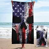 ANYA TOPSHOP Sand Free Beach Towel American Flag Punisher Skull Grunge Distress USA Pattern Bath Towel with Bag, Microfiber Throw Towel Fast Dry Breathable Thin Travel Blanket for Pool 31.5'X63'
