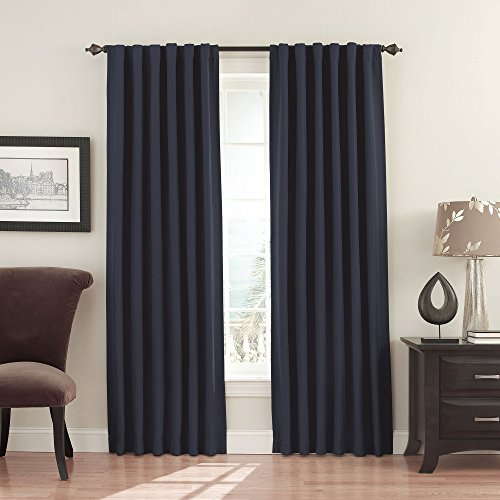 """ECLIPSE Fresno Thermal Insulated Single Panel -Rod Pocket Darkening Curtains for Living Room, 52"""" x 108"""", Dark Blue"""