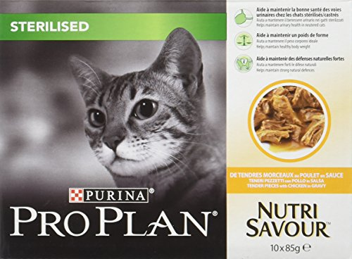PRO PLAN Nutrisavour Sterilised - Au Poulet - Pochons pour chat adulte 10 x 85 g