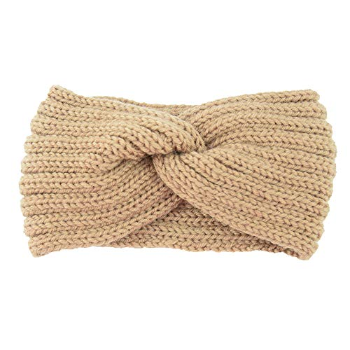 FiedFikt Klassische Damen Strick Stirnband Häkelnband Winter Warmer Lady Haarband Häkelstrick Haarband Stirnband, D, M