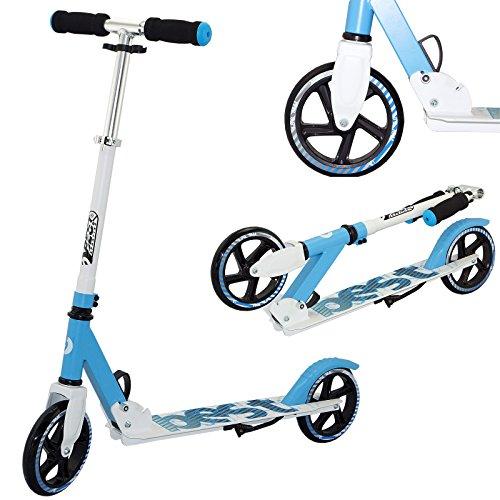 Best Sporting Scooter 180er Rolle, höhenverstellbarer Kinder-Roller 80 - 85 - 90 cm aus Alu, Kickscooter mit Ständer, Farbe: blau/weiß