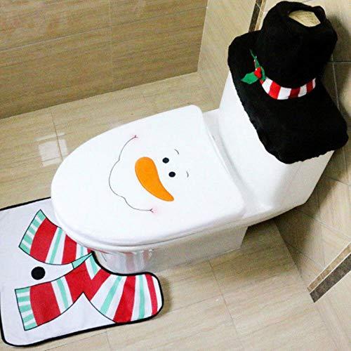 FISH4 3 STÜCKE Weihnachten Toilettensitz & Abdeckung Weihnachtsmann Badezimmer Matte Decor BadezimmerWeihnachtsmann ToilettensitzAbdeckung Teppich Dekoration, A