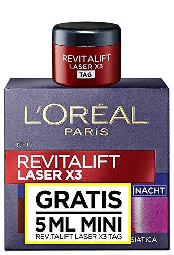 Crema de noche RevitaLift Laser X3 con muestra de crema de día de L\'Oréal Paris
