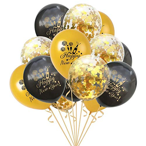 Oblique Unique® Konfetti Luftballon Set für Silvester Neujahr Party Feier Deko Ballons 15 Stück Happy New Year Schwarz Gold