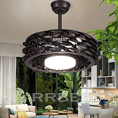 Luz de ventilador de techo con iluminación de techo LED regulable con control remoto Ventilador de ventilador Luz colgante 48W Velocidad de viento ajustable Lámpara de techo tranquilo Lámpara de estar