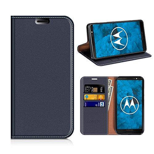 MOBESV Moto G6 Hülle Leder, Moto G6 Tasche Lederhülle/Wallet Hülle/Ledertasche Handyhülle/Schutzhülle mit Kartenfach für Motorola Moto G6 - Dunkel Blau