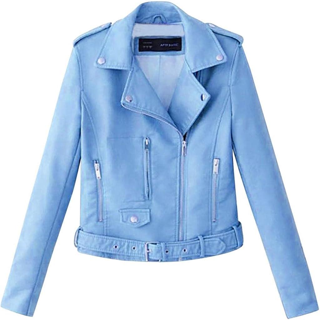 FNJJLU Excellent NEW Jackets for Women Lapel Biker Motor Short Coa Zip