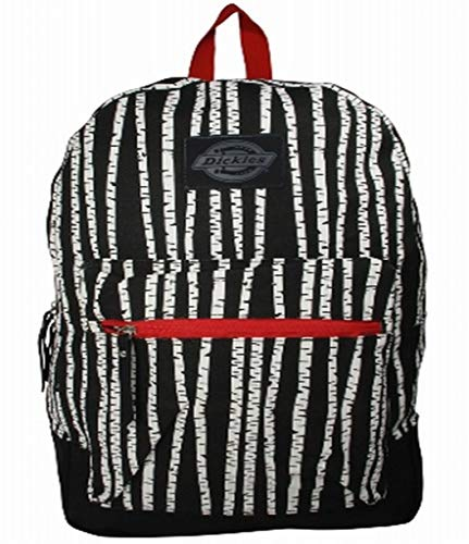 Dickies Black & White Stripe Cotton Canvas Backpack Student School Travel Pack