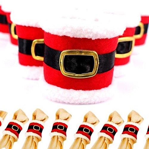 SSITG Lot de 4 ronds de serviette de Noël pour mariage, banquet, soirée