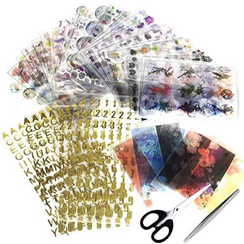 Woohome 39 Stück Harz Aufkleber Kit, 37 Stück Holographische Zauberkreise Transparent Dekorieren Aufkleber und Schere Pinzette für UV Harz Handwerk