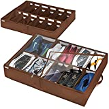 Under Bed Shoe Storage Organizer, Adjustable Dividers (2 Pack Fits 24 Pairs) Shoe Organizer Underbed Containers Solution with Sturdy and Breathable Materials for Sneakers, Boots Great Space Saver for Your Closet (Walnut)
