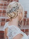 Simsly Flower Wedding Hair Peignes Strass Mariée Coiffure Accessoires cheveux perlés pour femmes et filles. (Or)