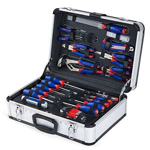 WORKPRO Haushalt Werkzeugkoffer Aluminum Werkzeugtrolley, Steckschlüssel-Satz Gabelschlüssel Universal Alu Werkzeugkiste 119-teilig