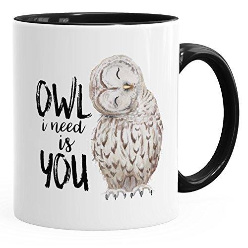 MoonWorks Kaffee-Tasse Eule Owl I Need is You Liebe Spruch Geschenk Valentinstag Weihnachten Ehe Partnerschaft schwarz Unisize