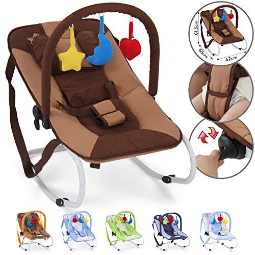 Infantastic® Babywippe - mit 3-Punkt-Sicherheitssystem, stabilem Metallrohr-Gestell, Schaukelfunktion, inkl. Spielbogen, 3 Spielzeuge, Schaukelpony - Babyschaukel, Schaukelwippe, Babytrage