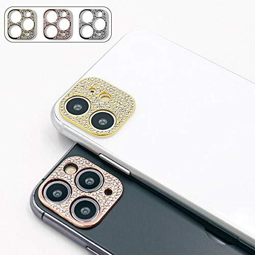 For iPhone 11 Pro Max 3D Bling Diamond Camera Lens Protector Ring Glitter Metal Case Cover, Rear Camera Anti-Fall Decorations Sticker (for iphone11, rose)