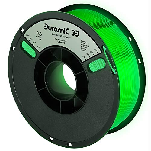 DURAMIC 3D PLA Filament 1.75mm Glow in The Dark Green 1kg, 3D Printing Filament with Build Surface 7.8x7.8 in, No-Tangling Dimensional Accuracy +/- 0.05 mm, Consistent Performance for 3D Printer