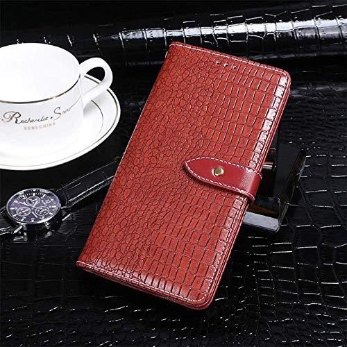 QHTTN Krokodil Muster Rot Leder Tasche Hülle TPU Silikon Für Doogee Y6 Max Handyhülle Schutzhülle Handytasche Flip Handy Etui Brieftasche Abdeckung Cover Hülle