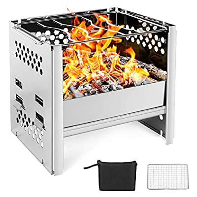 Odoland Camping Stove Wood Burning Camp Stove, Portable Foldable Lightweight Stainless Steel Backpacking Stove for Outdoor Hiking Backpacking Survival Picnic and BBQ
