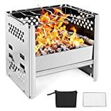 Odoland Camping Stove Wood Burning Camp Stove, Portable Foldable Lightweight Stainless Steel...
