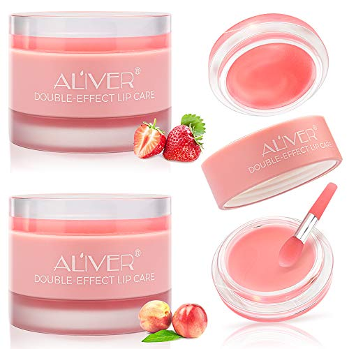 Lip Scrub Care Mask, 2 Packs Lip Sleeping Mask with Double Effect, Lip Repair Lip Mask for Dry, Cracked Lips, Lip Repair Balm, Lip Moisturizer for Lip Treatment Care