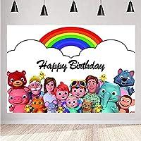 ココナッツ メロンの背景の子供の幸せな誕生日パーティー バナー 漫画 ココナッツ メロンの背景 ベビー シャワー パーティー用品 ハッピーバースデー子供 ホーム パーティー装飾 ビニール バナー カスタム写真電話小道具 5x3FT