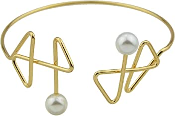 FEELONTOP Fashion Gold Silver Metal Thin Bangle Bracelet with Jewelry Pouch
