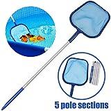 Maiyaduo - Espumadera para piscina, malla fina, con barra de aluminio de 47 pulgadas, 5 secciones para limpiar piscinas, estanques de jardín, bañera de hidromasaje y spa