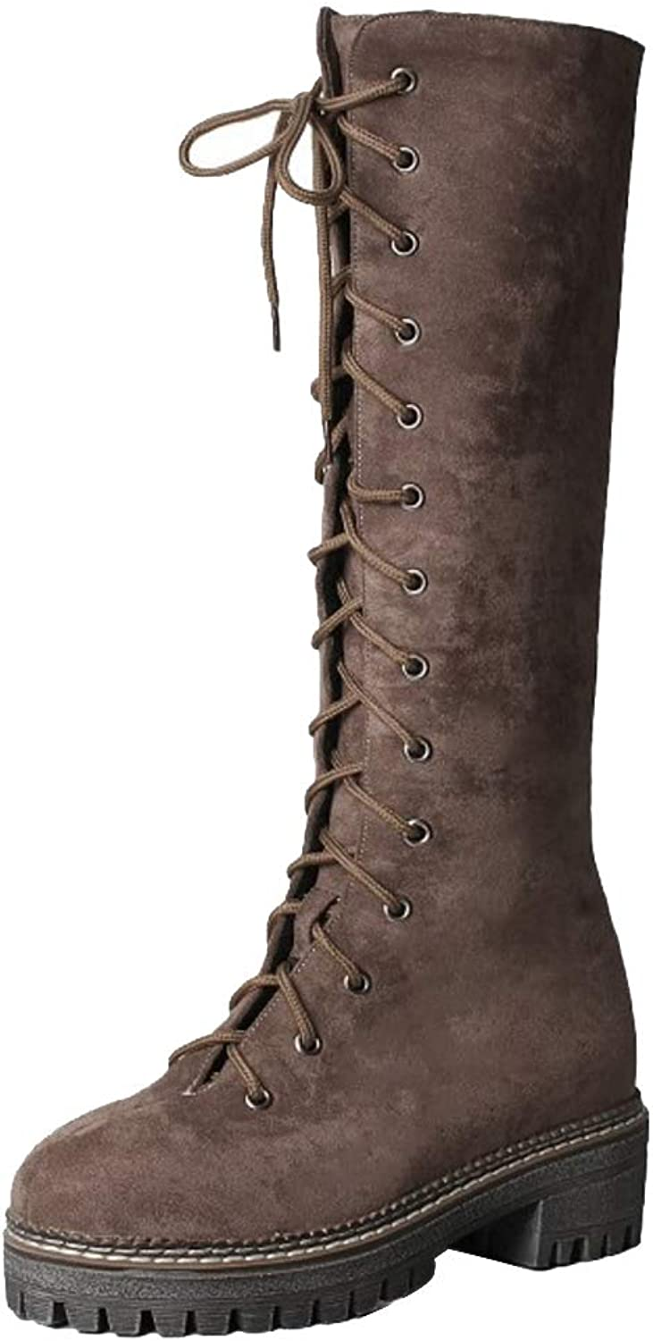 Cular Acci Women Fashion Low Heel Boots Mid Calf Boots Strappy
