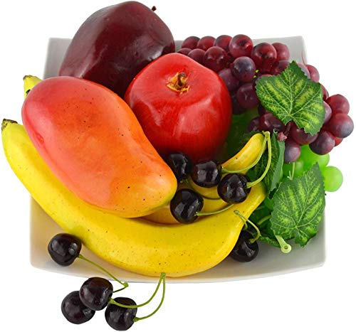 Frutas artificiales para decoración de hogar, mezcla de manzana, plátano, cerezas, mango y uvas