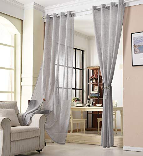 WOLTU VH6064dgr-2, 2er Set Gardinen transparent mit Ösen Leinen Optik, Doppelpack Ösenschal Vorhang Stores lichtdurchlässig Fensterschal für Wohnzimmer Kinderzimmer Schlafzimmer, 140x145 cm Grau