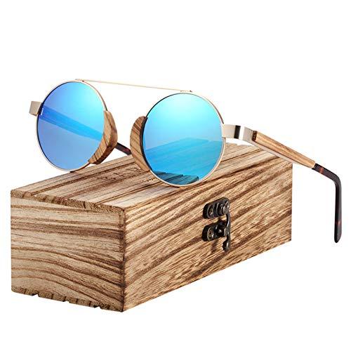 PrittUHU Gafas de Sol Gafas de Sol polarizadas de Madera para Mujeres Hombres con Paquete Original (Lenses Color : Blue)
