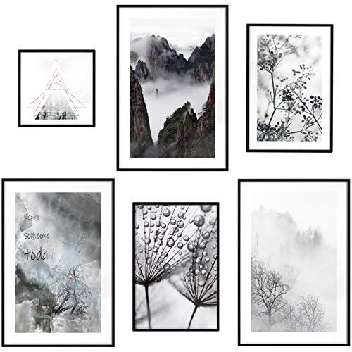 decomonkey | Poster 6er – Set schwarz-weiß Abstrakt Kunstdruck Wandbild Print Bilder Kunstposter Wandposter Posterset