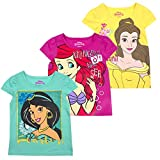Disney Princess T-Shirts for Girls – 3 Pack Short Sleeve Graphic Tees, Yellow, 5