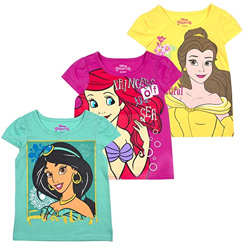 Disney Princess T-Shirts for Girls – 3 Pack Short Sleeve Graphic Tees, Yellow, 4