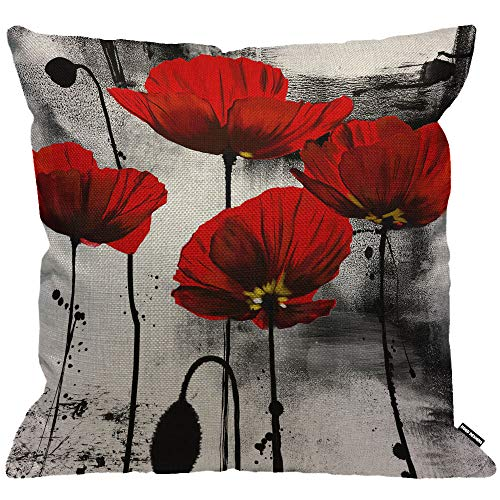 HGOD DESIGNS Cushion Cover Vintage Red Poppy Flower Black Watercolor Background,Throw Pillow Case Home Decorative for Men/Women Living Room Bedroom Sofa Chair 18X18 Inch Pillowcase 45X45cm