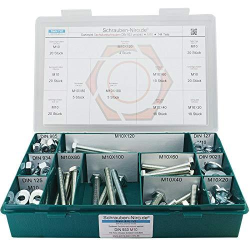 Sortiment M10 DIN 933 Stahl 8.8 galv. verzinkt Sechskantschrauben mit Gewinde bis Kopf - Set bestehend aus Schrauben, Unterlegscheiben (DIN 125, 127, 9021) und Muttern (DIN 934, 985) - 144 Teile