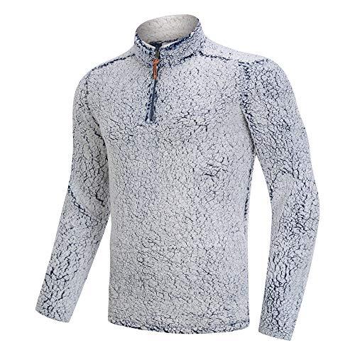 Bnokifin Herenshirt Winter 1/4 Rits Sherpa Pullover Trui Stand Collar Fluffy Fleece Jas met Zakken