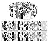 Soimoi 40 Unids Ikat Print Fabrics Thream Threits Roll Up 1.5 Pulgadas Rollos De Jalea De Algodón Para Acolchar - Blanco Y Negro