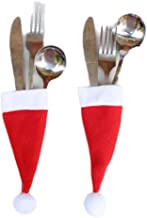 JPJ(TM) ❤️Fork Storage ❤️12Pcs Christmas Fashion Tableware Fork Set Christmas Hat Storage Tool Decorative (Red)
