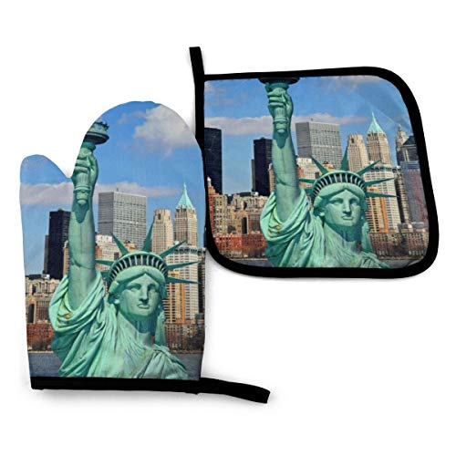 SAIKOUNOYA Oven Mitts and Pot Holders Sets Heat Resistant Oven BBQ Gloves Statue of Liberty in NYC Kitchen Mitts for Safe BBQ Cooking Baking Grilling