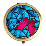 Makeup Mirror 2.75 Inch Bronze Two-sided Handheld Butterflies 1X & 2X Magnification Stylish Light Small Compact Mirror for Makeup, Purses