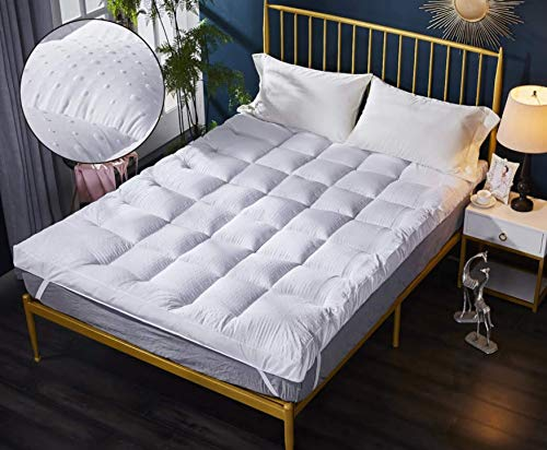 Microfibre Mattress Topper King Size Box Stitched with Elasticated Corner Straps Supersoft Extra Comfort Hypoallergenic and Odour Free White