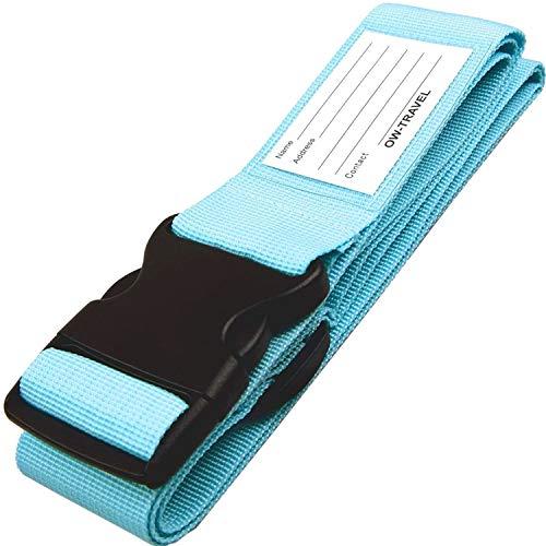 Correas para Equipaje, Cinturones de la Maleta Ajustables de Equipaje de Viaje Cinturones, Accesorios de Viaje Embalaje con Ranura para Etiquetas de identificación (1 - Azul)