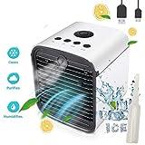Nifogo Air Mini Cooler Aire Acondicionado Portátil, 3-en-1 Climatizador Evaporativo Frio Ventilador Humidificador Purificador de Aire,Leakproof, Nuevo Filtros
