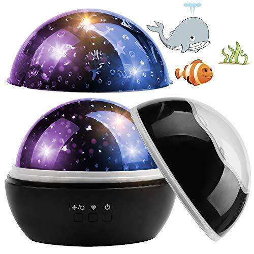 CPROSP Sternenhimmel Projektor Kinder, Ozeanwelt, Sternwelt, 360° Drehbar, 8-Farbwechsel mit USB Kabel, Geburtstag, Schwarz