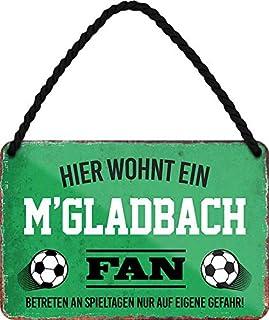 """Blechschilder HIER WOHNT EIN M""""GLADBACH Fan Hängeschild für Fußball Begeisterte Deko Artikel Schild Geschenkidee 18x12 cm"""