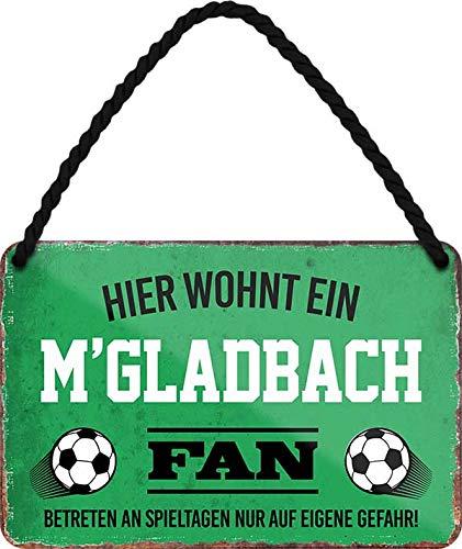Blechschilder HIER WOHNT EIN M'GLADBACH Fan Hängeschild für Fußball Begeisterte Deko Artikel Schild Geschenkidee 18x12 cm