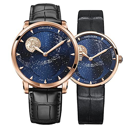 Agelocer Hombres Top Marca Azul Luna Fase Mecánica Masculina Moda de Lujo Analógico Reloj Elegante Señoras Navidad San Valentín, Nk_6404d2-6504d1,