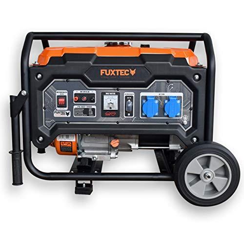 FUXTEC Stromerzeuger Benzin FX-SG2-3000 – 2500W Stromaggregat 2x 230V Anschlüsse – Stromgenerator mit Rädern – Notstromaggregat